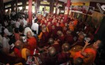 Monks listen to remarks by democracy activist Ko Ko Gyi in Rangoon on Sept. 18, 2013, at an event commemorating the Saffron Revolution. (Photo: JPaing / The Irrawaddy)