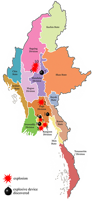 A map showing bomb incidents in Burma since Oct. 9. (Image: The Irrawaddy)