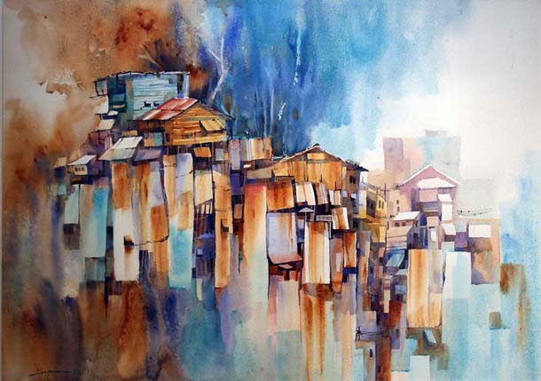 water painting, arts, Myanmar, Japan