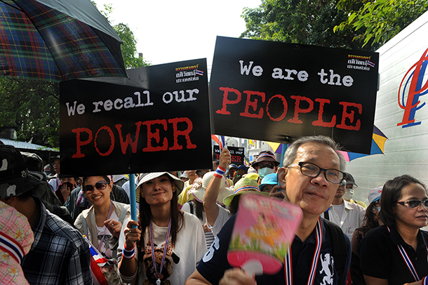 Democracy protesters march from Bangkok's Democracy monument to Government House in early December in what protest leader Suthep Thaugsuban said at the time was their last protest. (Photo: Steve Tickner / The Irrawaddy)