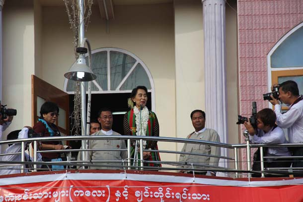 Aung San Suu Kyi, Myanmar, Burma, National League for Democracy, Sagaing Division, Chin State, Kalay, Depayin massacre, constitutional reform