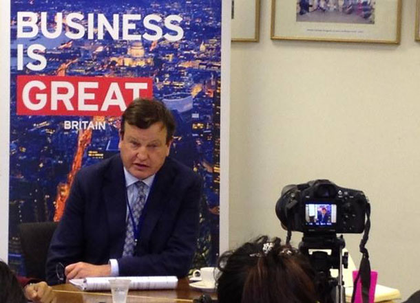 James Townshend, the UK's business ambassador for agriculture, speak to reporters in Rangoon last week. (Photo: British Embassy Rangoon / Facebook)