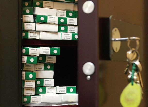 Boxes of the contraceptive Postinor-2 are seen inside a safe at a public health clinic. (Photo: Reuters)