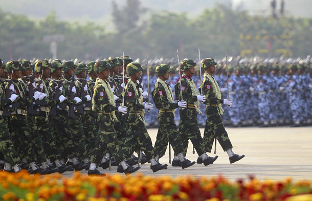 A parade to mark the 68th anniversary of Armed Forces Day in Burma's capital Naypyitaw March 27, 2013. (Photo: Reuters)