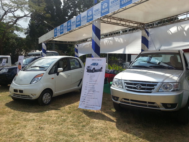 Tata Motor's Nano and Xenon models are on show at an Indian trade exhibition in Rangoon on Thursday. (Photo: Kyaw Hsu Mon / The Irrawaddy)