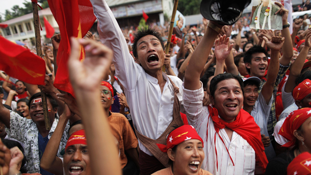 NLD supporters celebrate in Rangoon in April 2012. (Photo: Reuters)