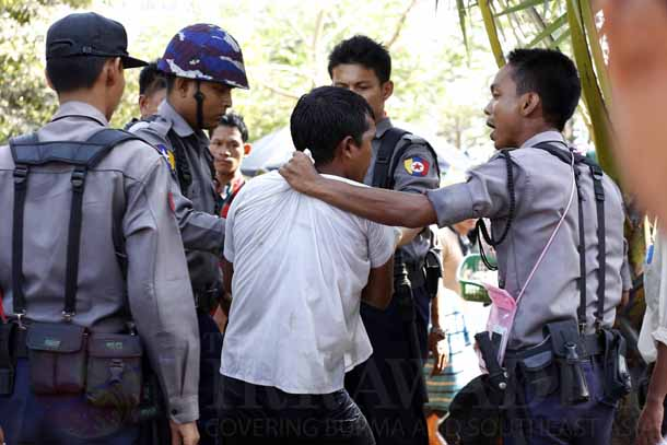 Myanmar, Burma, The Irrawaddy, Thingyan, water festival, Buddhist New Year, police, security, pandals, Rangoon, Yangon