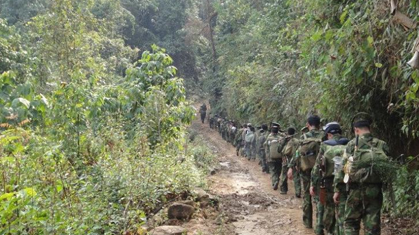 KIA troops marching through the jungle of northernmost Burma in 2012. (Photo: my.tianya.cn)