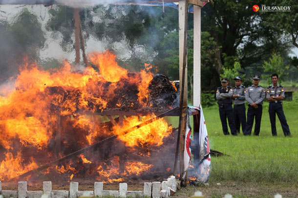 On Thursday, Burmese authorities organized a drug-burning ceremony in Rangoon's Mawbe Township that destroyed a reported US$19 million worth of illicit drugs. (Photos: Hein Htet/ The Irrawaddy)