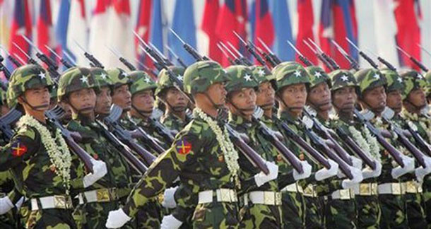 Burmese soldiers take part in a military parade marking the country's Armed Forces Day at a parade ground in the new capital Naypyidaw in 2008. (Photo: AP)