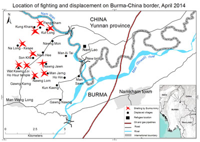 map-location of fighting  displacement on burma-china border1
