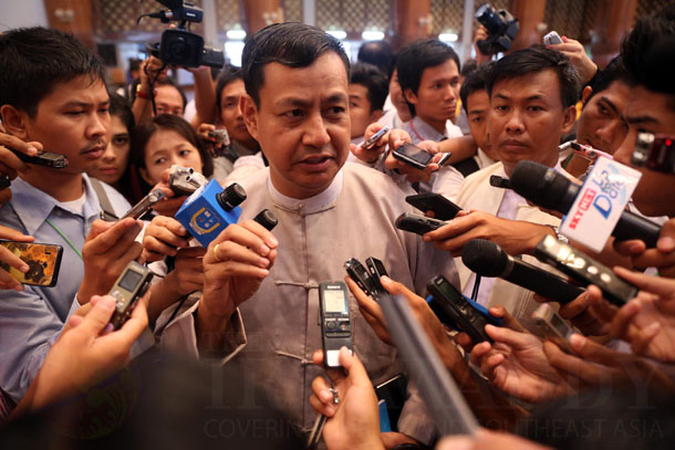 Presidential spokesman Ye Htut talks to reporters on Saturday. (Photo: JPaing / The Irrawaddy)
