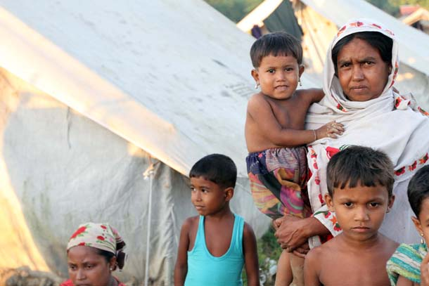 A family of Rohingya Muslims at a camp for internally displaced persons in Arakan State. (Photo: The Irrawaddy)