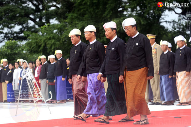 Vice-President Sai Mauk Kham, center left, walks with Union Parliament Speaker Shwe Mann, center right, and House of Nationalities Speaker Khin Aung Myint, far right, during a Martyrs' Day ceremony on Saturday in Rangoon. (Photo: The Irrawaddy)