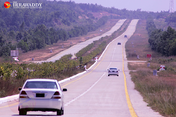 Vehicles travel along a stretch of the highway linking Mandalay and Rangoon. (Photo: The Irrawaddy)