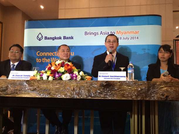 Bangkok Bank's Chaiyarit Anuchitworawong answers questions at a press conference in Rangoon. (Photo: Kyaw Hsu Mon / The Irrawaddy)