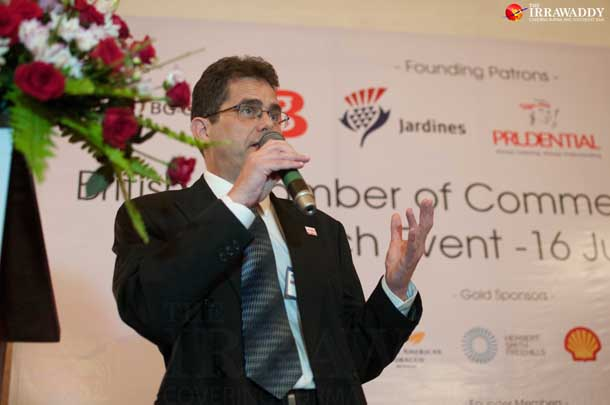 British Chamber of Commerce Myanmar President Anthony Picon—who is the managing director of real estate firm Colliers International's Burma office—speaks at the chamber's launch in Rangoon on Wednesday. (Photo: Sai Zaw / The Irrawaddy)