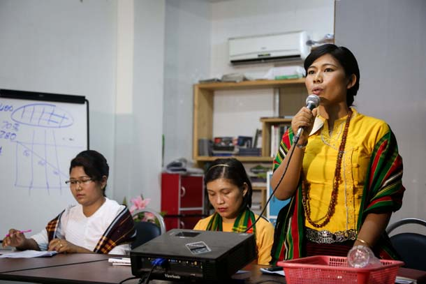 Mai T. Sui Leng, director of Women's Hand Myanmar Foundation, speaks at a press conference in Rangoon on Tuesday. (Photo: Hein Htet / The Irrawaddy)