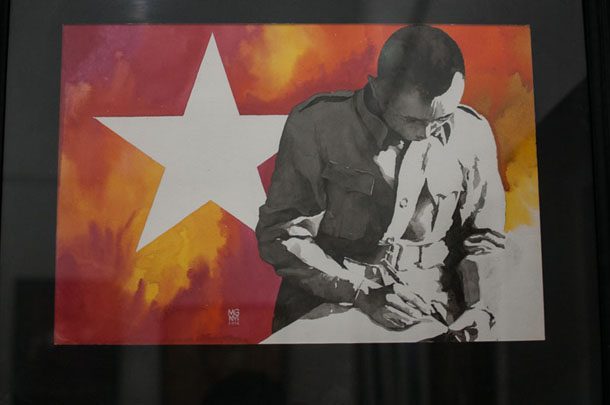 Part of an exhibition of portraits of Gen. Aung San on display at a gallery in Rangoon. (Photo: The Irrawaddy)