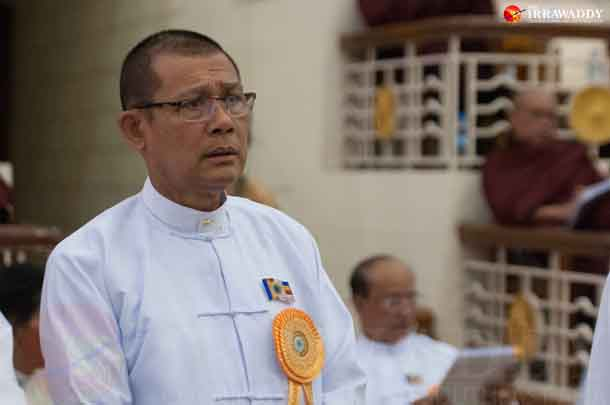 Former Religious Affairs Minister Hsan Hsint attends a meeting of the state Sangha in Rangoon in May. (Photo: Sai Zaw / The Irrawaddy)
