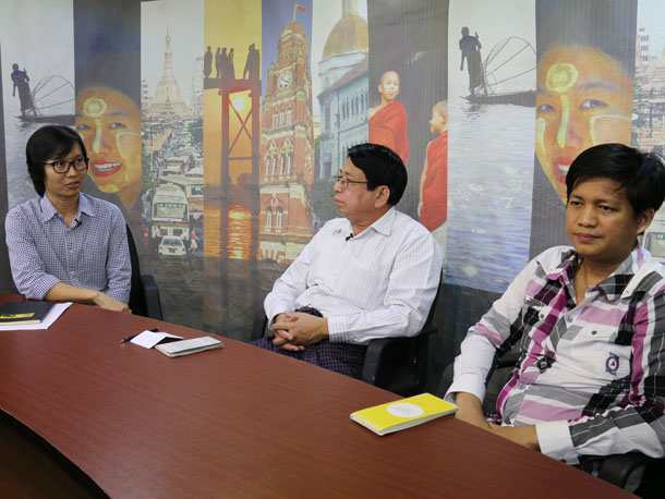 "From left, Kyaw Zwa Moe, editor of The Irrawaddy's English edition, speaks with panelists Pe Myint from People's Age journal and Ko Thalun Zaung Htet from The Irrawaddy's Burmese edition, during an episode of ""Dateline Irrawaddy"" this week. (Photo: The Irrawaddy)"