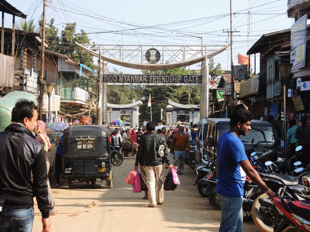 India-Burma immigration checkpoint and customs office seen from Moreh, the capital of Manipur State in northeast India. (Photo: Sam Stubblefield / The Irrawaddy)