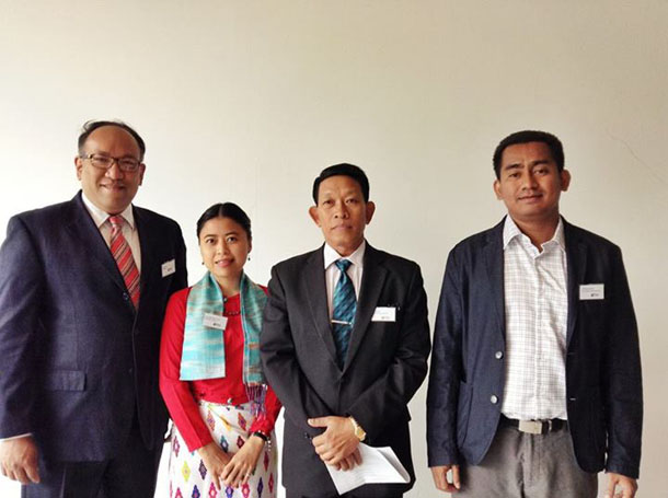 From right to left: Shwe Gas Movement director Wong Aung, director-general of the Ministry of Mining Win Htein, an unknown Burma delegate member, and Burma EITI coordinator Zaw Oo during the EITI board meeting in Mexico last week. (Photo: EITI)