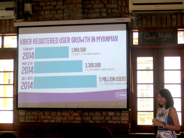 Crystal Lee, Viber country manager Philippines, presents the figures on Viber users in Burma in Rangoon on Thursday. (Photo: Kris Banyar /Zagar Communications)
