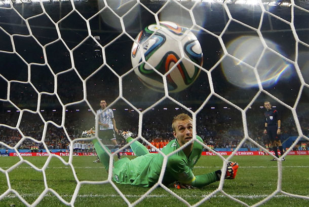 Jasper Cillessen of the Netherlands watches as he fails to stop the decisive penalty shot by Argentina's Maxi Rodriguez during their penalty shootout in their 2014 World Cup semi-finals. (Photo: Reuters)