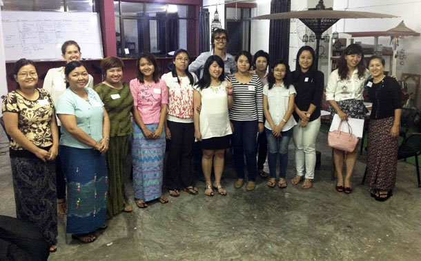 Project-W's women entrepreneurs and program manager Josep M. Saura at a workshop in Rangoon. (Photo: Project Hub Yangon)