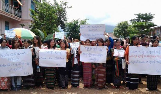 Women in Matupi Township, Chin State, demonstrate against rape by Burmese army soldiers. (Photo: Khumi Media Group)