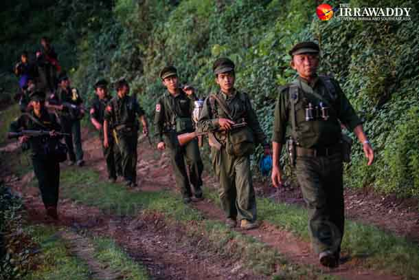 TNLA soldiers on the frontline in June. (Photo: JPaing / The Irrawaddy)