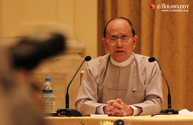 President Thein Sein speaks to reporters in Naypyidaw in October 2012. (Photo: JPaing / The Irrawaddy)