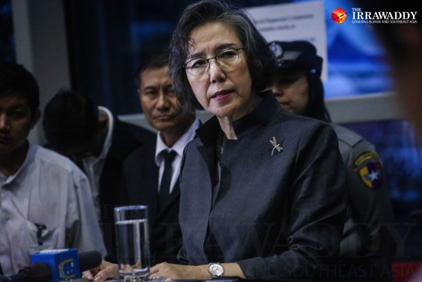 Yanghee Lee speaks to reporters in Rangoon at the end of her 10-day visit to Burma on Saturday. (Photo: JPaing / The Irrawaddy)