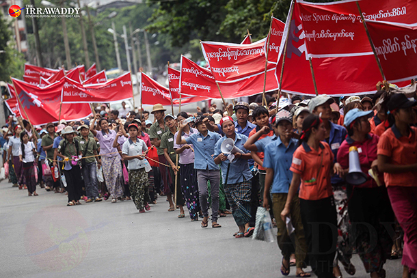 Workers from the Master Sports Footwear Factory in Rangoon march towards the South Korean Embassy on Thursday. (Photo: JPaing / The Irrawaddy)