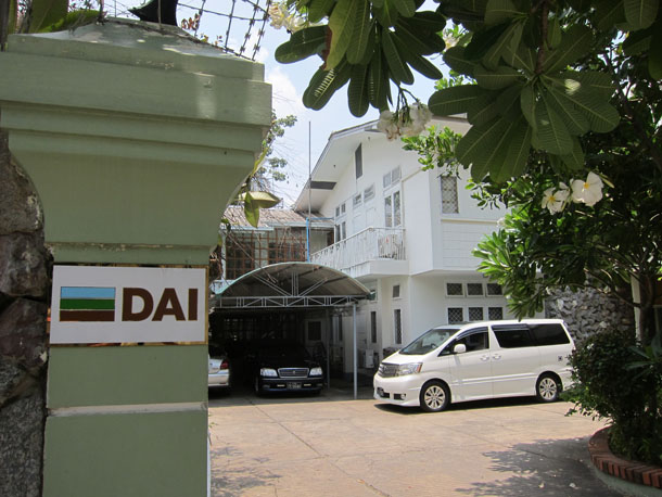 The Rangoon office of Development Alternatives Inc. (DAI), which is rented from the family of Burma's former spy chief, Khin Nyunt. (Photo: Jonathan Hulland)