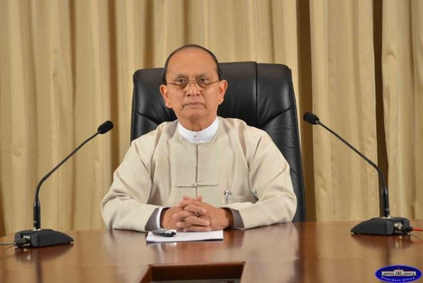 Burma President Thein during a televised address in March 2013. (Photo: President's Office website)
