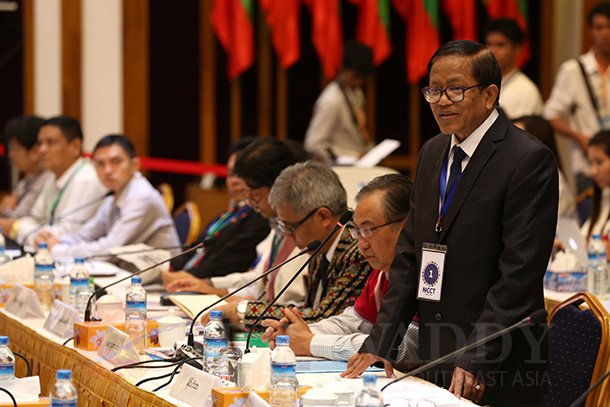 NCCT leader Nai Hong Sar at the meeting at the Myanmar Peace Center on Saturday. (Photo: Thaw Hein Htet / The Irrawaddy)