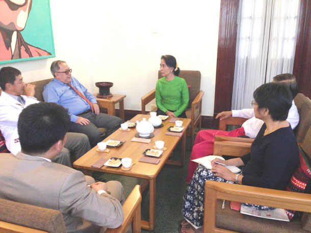 Ethnic leaders meet with Aung San Suu Kyi at her Rangoon home on Monday. (Photo: NLD chairperson / Facebook)