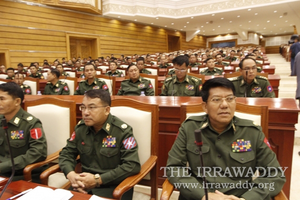 Military appointees sit in the Union Parliament in Naypyidaw. (Photo: The Irrawaddy)