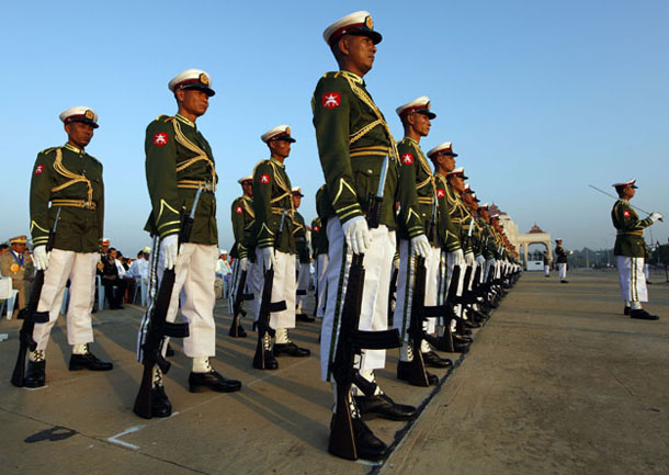 Burma's armed forces take part in a ceremony to honor the 65th anniversary of independence from British rule in Naypyidaw on Jan. 4, 2013. (Photo: The Irrawaddy)