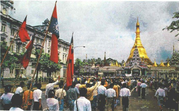 Protesters gather near Sule Pagoda in downtown Rangoon during the nationwide pro-democracy uprising in 1988.