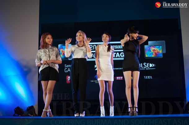 South Korean girl band 2NE1 arrived are set to play their first concert in Burma on Saturday. (Photo: Sai Zaw / The Irrawaddy)