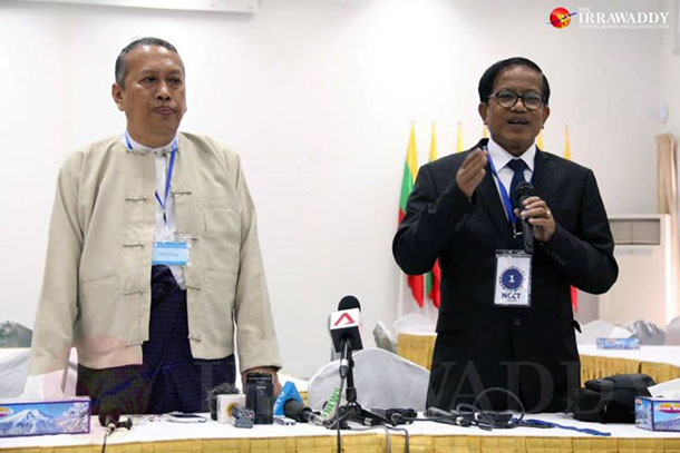 Myanmar Peace Center Director Hla Maung Swe (left) and Nai Hong Sar, the head of the ethnic armed groups' Nationwide Ceasefire Coordination Team, give a press conference in Rangoon on Friday. (Photo: JPaing . The Irrawaddy)