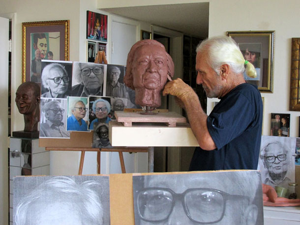 Jim McNalis' sculpture of the late Win Tin is seen in his US studio. (Photo: Supplied)
