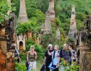 Foreign tourists sightsee at Shwe Indein Pagoda near Shan State's Inle Lake. (Photo: JPaing / The Irrawaddy)