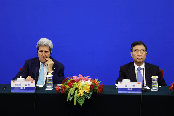US Secretary of State John Kerry, left, and China's Vice Premier Wang Yang attend a news conference after the 6th round of the US-China Strategic and Economic Dialogue in Beijing on July 10, 2014. (Photo: Reuters / Jason Lee)