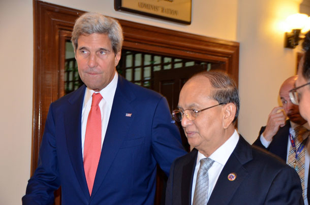 US Secretary of State John Kerry and Burmese President Thein Sein at the Asean Summit in Brunei last year. (Photo: Simon Roughneen / The Irrawaddy)