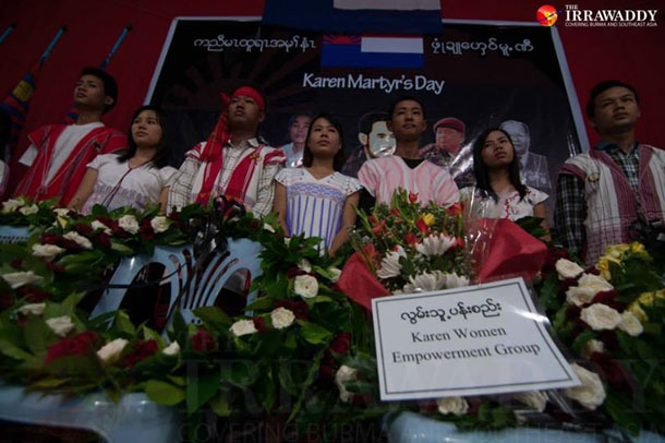 Some 200 members of the ethnic Karen community in Rangoon held a public ceremony to mark the 64th Karen Martyrs' Day on Tuesday. (Photo: Sai Zaw / The Irrawaddy)
