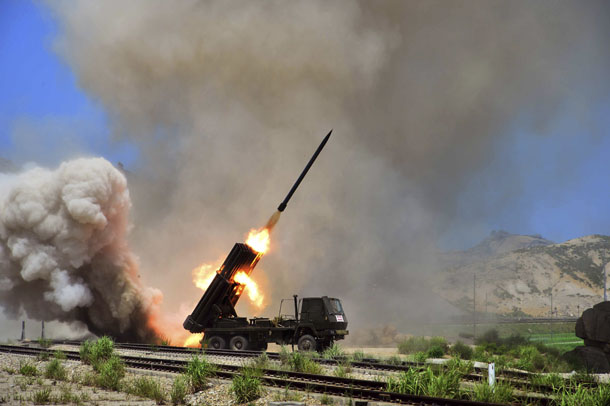 A view of a multiple rocket launcher during an exercise in this undated photo released by North Korea's Korean Central News Agency (KCNA) in Pyongyang July 15, 2014. (Credit: Reuters)